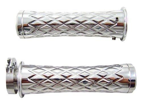 Yana Shiki CA4037F Chrome Diamond Cut Style Curved Design Grip with Flat End Caps (Polished Chrome Diamond)