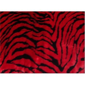 Zebra Long Pile Minky Fur (RED)