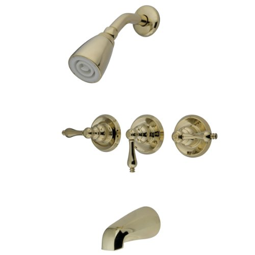 Kingston Brass KB238AL Tub and Shower Faucet with 3 Lever Handles  Satin Nickel Amazon com