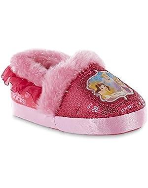 Toddler Girls Disney Princesses Hot Pink Sequins Slippers
