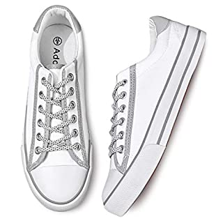Womens Canvas Shoes Low Cut Canvas Sneakers Walking Running Shoes (Stripe White,US8)