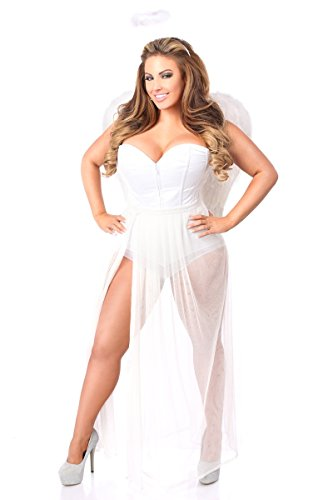 Daisy Corsets Women's Lavish 4 Pc Glitter Fantasy Angel Costume, White, 2X