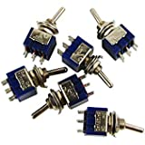 FLEOR 2 Way Blue Mini DPDT Switch 6 Pins AC 125 6A ON/ON, Pack of 6