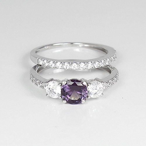 Color-Changing Alexandrite and White Diamonds Engagement Ring Set Sterling Silver (Wedding Alexandrite Set)