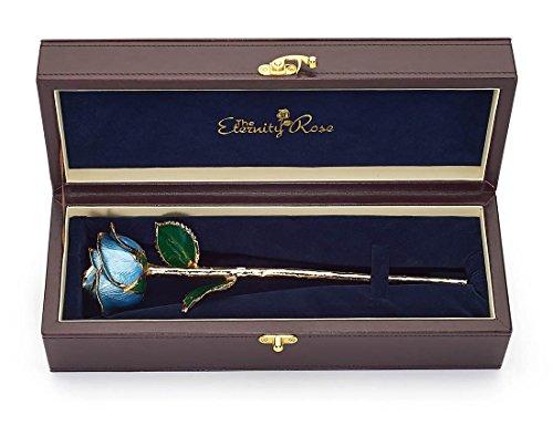 - Light-Blue Natural Rose Glazed & Trimmed with 24K Gold 12