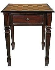Design Toscano Walpole Manor Chess Gaming Table, 66 cm, Hardwood, Walnut