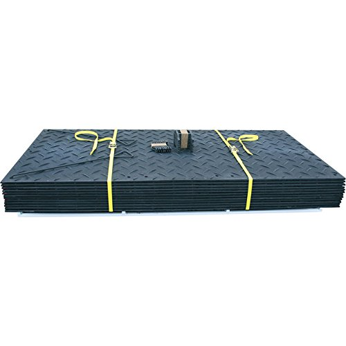 Diamond Plate Tread Pattern TuffTrak AlturnaMAT Ground Protection Mat Pak /— 12-Pc 8ft.L x 4ft.W Set Black Model# AMCP4