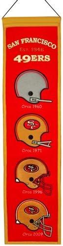 "San Francisco 49ers Winning Streak Past Mascots Wool Heritage Banner (8"""