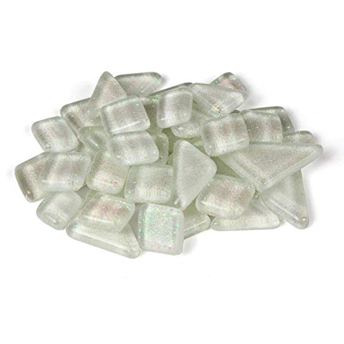 Milltown MerchantsTM White Glitter Mosaic Tile Pieces - Bulk Sparkle Mosaic Tiles - 1 Pound (16 oz) Shimmer Tile Assortment for Backsplash, Murals, Stepping Stones, and Mosaics