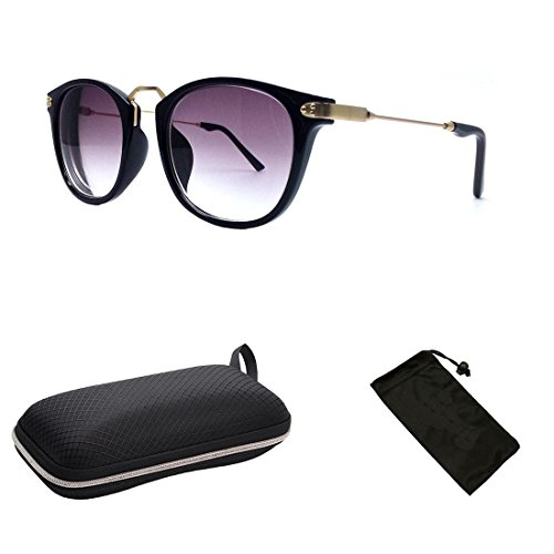 (#9588 Blk) Unique Retro Nearsighted Near sighted Short Sighted Myopia Black Sunglasses Tinted UV Protection Glasses (Strength: -3.0) by CPS