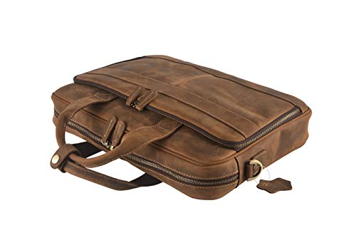 - Mens Genuine Leather Messenger Bag Vintage Attache Case Shoulder Crossbody Business Briefcases Fit 14