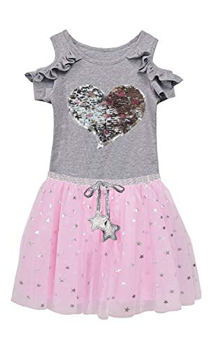 Toddler Girls Dresses Kids Reversible Sequins Kitten Tutu Birthday Wedding Party 2 Piece Casual Playwear Skirt Sets (4T, Pink - Dress Reversible Kids
