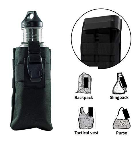 (Clakit Water Bottle StrapPack (Black), Backpack Shoulder Strap Pocket, Fits Bottle up to 3.25