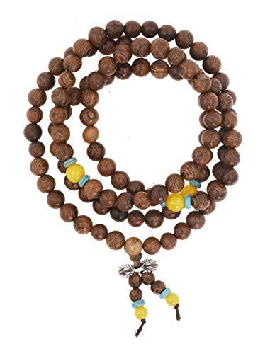 Mandala Crafts 108 Mala Prayer Beads Necklace, Bracelet from Natural Wood for Buddhists, Meditation, Yoga (Wenge Wood) ()