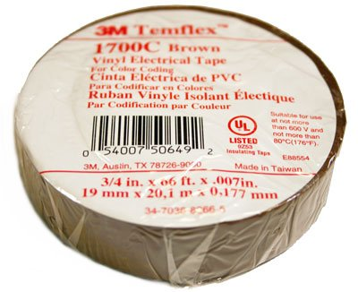(3M 1700C-Brown-3/4x66FT) (3M ID Number 80610736896) 3M(TM) Temflex(TM) General Use Vinyl Electrical Tape 1700C, Brown, 3/4 in x 66 ft (19 mm x 20,1 m), 100 per case [You are purchasing the Min order quantity which is 10 ROLLS]