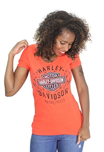 Harley-Davidson Womens Flaming Edge B&S Grenadine Shirt (Medium) - Ladies Harley Davidson