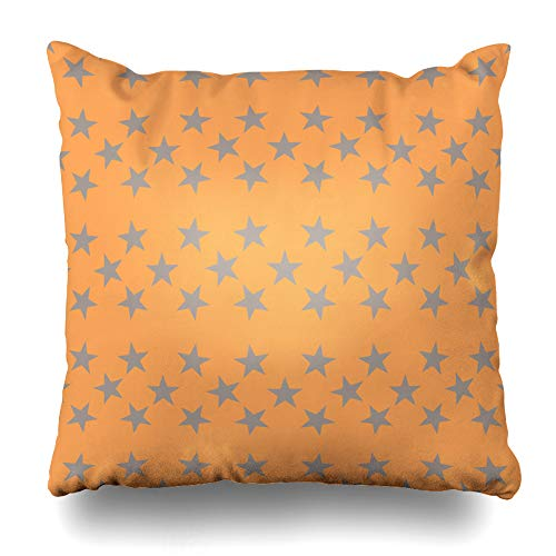 Ahawoso Throw Pillow Cover Gray Beige Orange Star Abstract Starlet Brown Chaotic Circle Confetti Creative Cute Design Line Decorative Cushion Case 16x16 Inches Square Home Decor Pillowcase