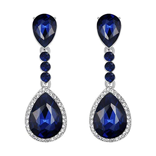 (BriLove Wedding Bridal Clip-On Earrings for Women Crystal Teardrop Infinity Figure 8 Chandelier Dangle Earrings Navy Blue Sapphire Color Silver-Tone)