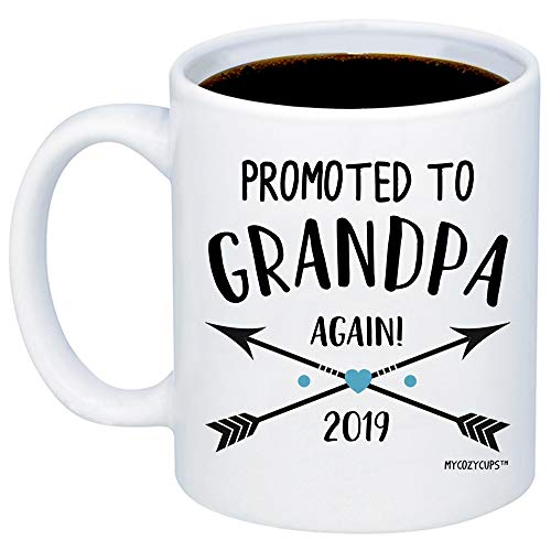 - MyCozyCups Baby Reveal Gift For Dad - Promoted To Grandpa Again 2019 Coffee Mug - Cute 11oz Cup For Suprise Baby Pregnancy Announcement, Baby Shower Party, Gender Reveal For Fathers, Dads