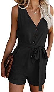 Ailunsnika Womens V Neck Button Down Tank Rompers Jumpsuit Shorts Playsuits with Pockets