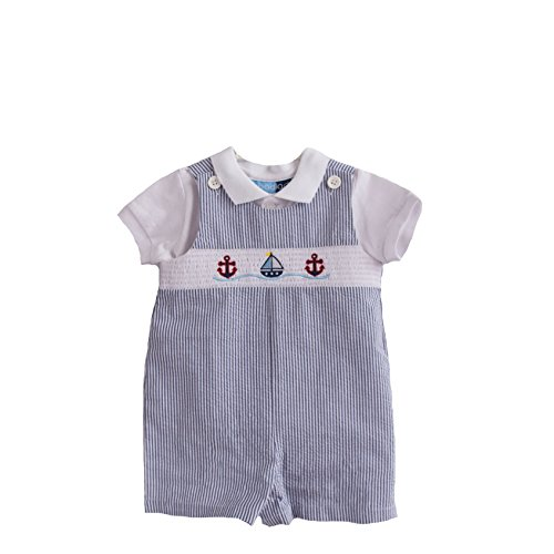 Good Lad Boys Infant Seersucker Smocked Shortall Set (12M) (Smocked Clothes)