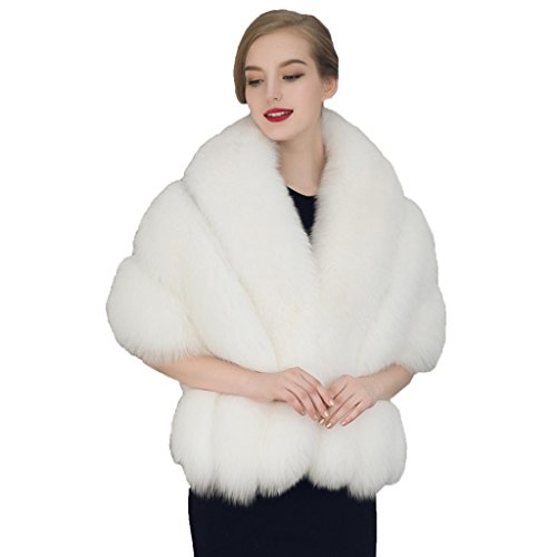 Pinkmerry Faux Mink Fur Wrap Cape Shawl for Women (FBA)