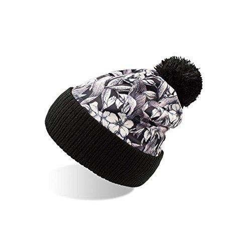 Mujer punto Black Flowers borla y Paisley y diseño Gorro de Flores Camuflaje Hombre con Owxq761An