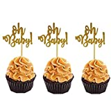 MZYARD Set of 30 Golden Oh Baby Cupcake Toppers Party Decors Baby Shower Decors