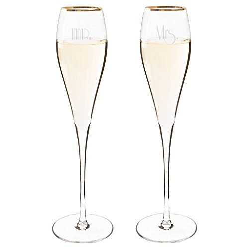(Mr. & Mrs. Gatsby Gold Rim Champagne Flutes (Set of 2))