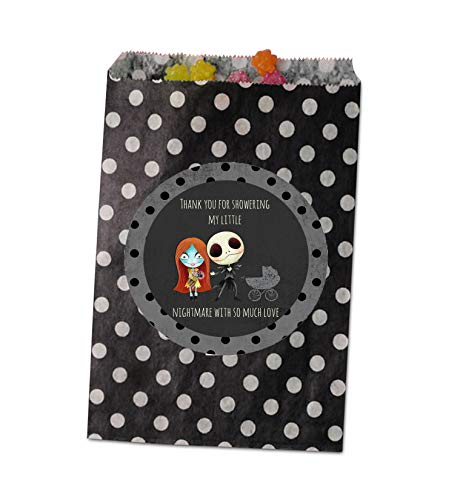 Silly Goose Gifts Nightmare Before Christmas Birthday Party Baby Shower Invite Decor Supply Stickers Favor (Baby Shower Favor Bag) -