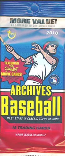 (2018 Topps Archives Baseball EXCLUSIVE Factory Sealed Jumbo Fat Pack with 18 Cards including Coming Attractions Insert! Look for Auto's of Mike Trout, Shohei Ohtani, Ronald Acuna, Derek Jeter & More!)
