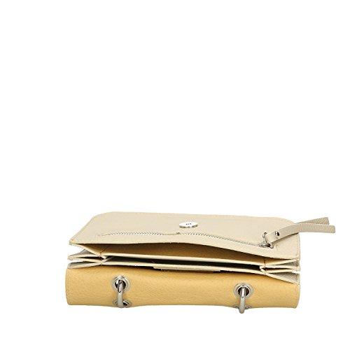 Petit à véritable main Cm Femme Chicca Italie Borse Clutch cuir en Sac Beige 23x17x7 fabriqué en zwKXwtqp
