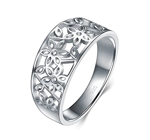 925 Sterling Silver Ring, BoRuo High Polish Tarnish Resistant Comfort Fit Victorian Leaf Filigree Vintage Style Ring Size (Leaf Ring White Gold)