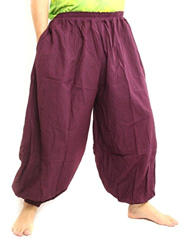 jing shop High Cut Balloon Harem Pants One Size Cotton Unisex For Men and Women (A10 Pants)