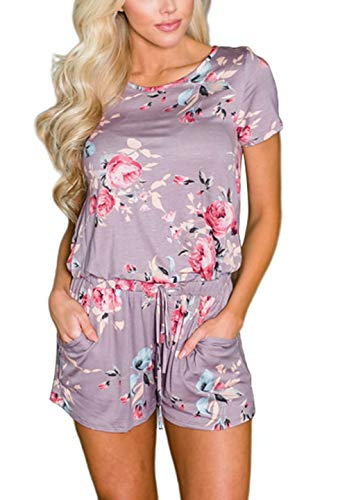 (Aixy Summer Jumpsuit for Women Short Sleeve Casual Loose Floral Jumpsuit and Rompers with Pockets)