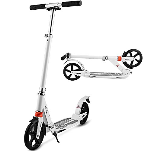 Hikole Commuter Adult Kick Scooter with Carrying Strap | Foldable Portable Adjustable | Aluminium Alloy New Scooter for Urban Riders and Kids Age 8Up (White)