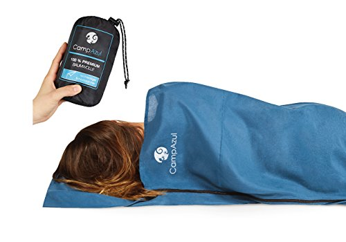 Camp Azul Premium Hüttenschlafsack XL, Baumwollschlafsack, Travel Sheet ultraleicht, extra breites Travel Inlet (blau)