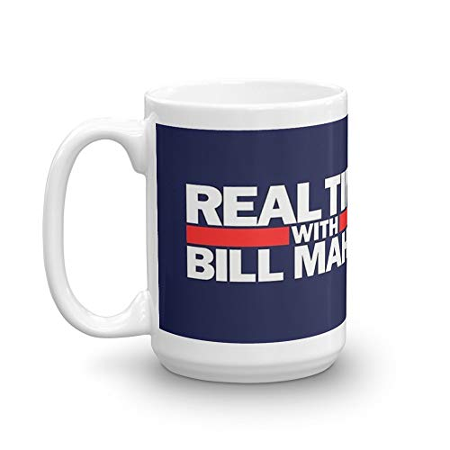 Real time with Bill Maher mug. 15 Oz Ceramic Glossy Mugs With Easy Grip Handle, Give A Classic For Look And Feel. 15 Oz Ceramic Glossy Mugs Gift For Coffee Lover
