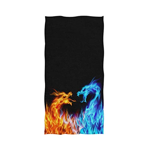 Dragon Design Beach Towel - Naanle Cool Blue and Red Fiery Fighting Dragons Soft Bath Towel Highly Absorbent Large Hand Towels Multipurpose for Bathroom, Hotel, Gym and Spa (16