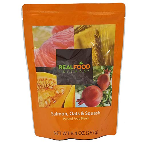 (Real Food Blends Salmon, Oats & Squash Pureed Blended Meal, 9.4 oz Pouch (Pack of 12 Pouches))