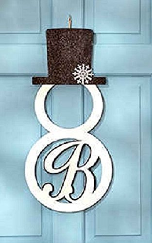 Snowman Monogram Door Hanger Wall Art Holiday Christmas Winter Decor Letter B