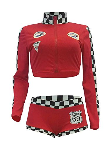 (Womens Sexy Long Sleeve Color Block Crop Top and Shorts Race Checkered Jumpsuit Outfits Red S)