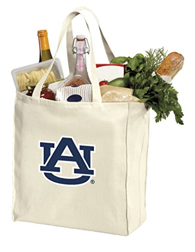 Aub Natural - Reusable Auburn University Grocery Bags or Auburn Tigers Shopping Bags Natural Cotton