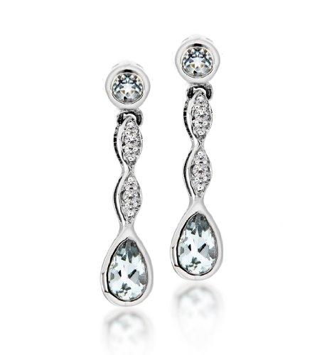 Carissima Gold - Boucles d'Oreilles Pendantes - Femme - Or blanc (9 cts) 1.5 Gr - Aigue Marine - Diamant