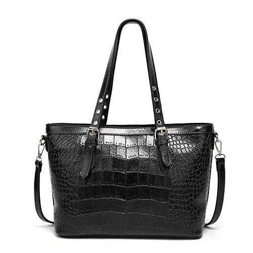 Mn&Sue Crocodile Purses and Handbags Work Bags for Women Large Tote Leather Shoulder Satchel Studded Crossbody Bag (Style 1- Black)