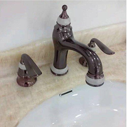 Gowe 3Pcs Jade&Brass Deck Mounted Bathroom Tap Basin Faucet Sink or Bathtub Faucet Double handles Faucet Golden/RoseORB 3