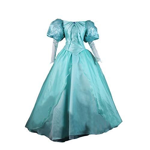 STH Women The Little Mermaid Princess Ariel Cosplay Costume Green Dress Gown S -
