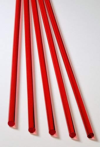 Red Acrylic Rods - 5 Pcs 1/4
