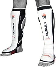 Meister Edge Leather Instep Shin Guards w/Gel Padding (Pair) - White
