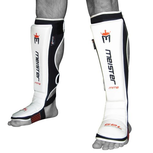 Meister EDGE Leather Instep Shin Guards w/ Gel Padding (Pair) - White - Small/Medium